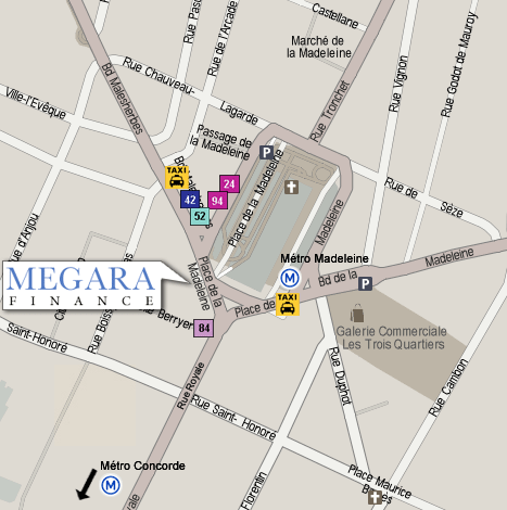 Plan Megara Finance, 9 place de la Madeleine 75008 Paris
